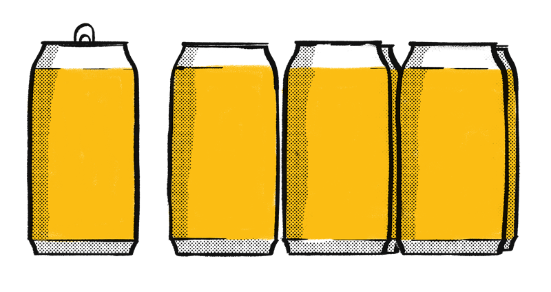 Beer Cans Illustration Textured