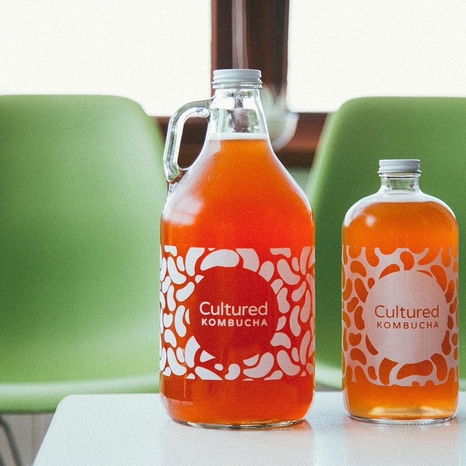 Cultured Kombucha Branded Growlers