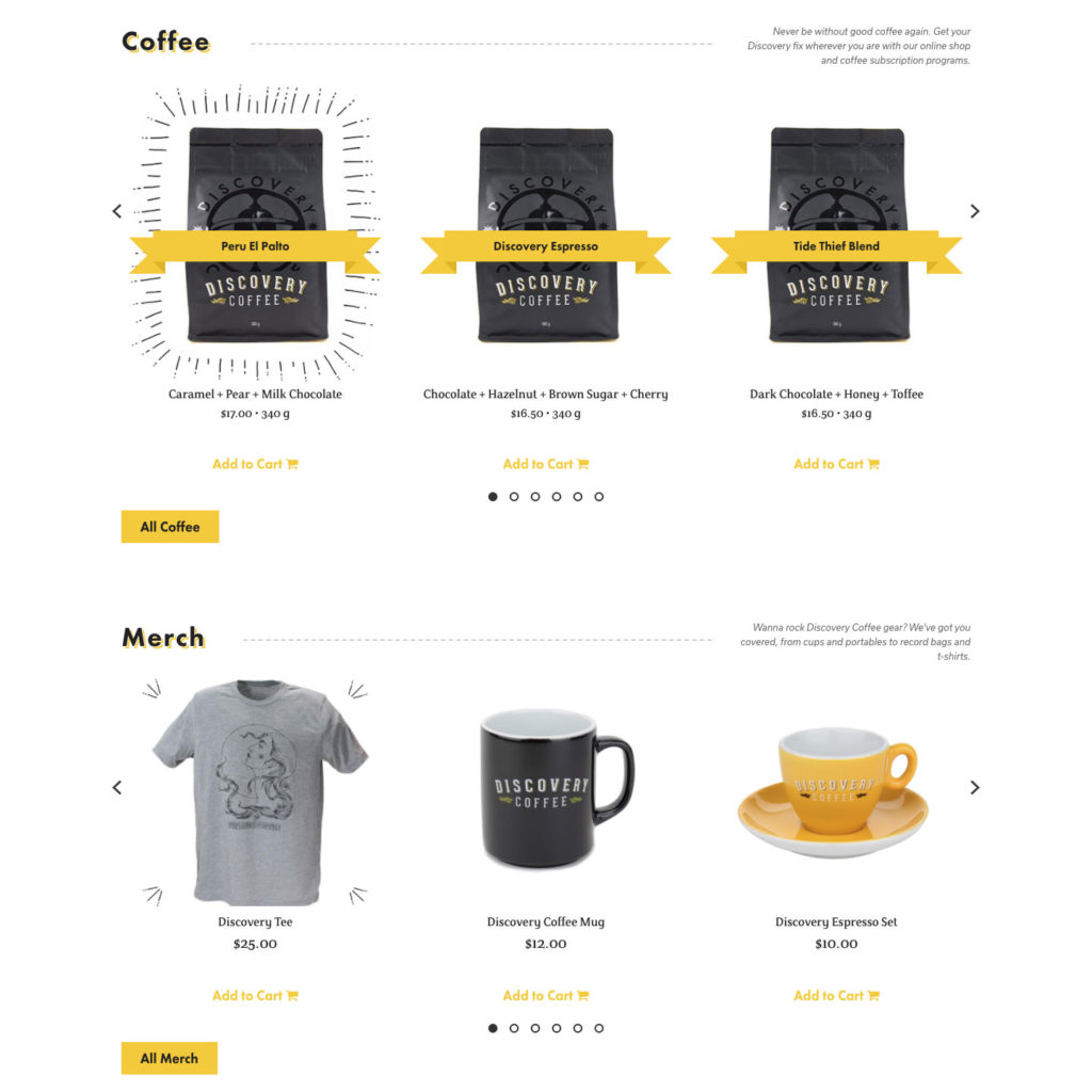 Discovery Web Shop Page